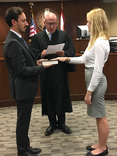 Judge Spencer Eig inducts Ms. Dani Birman and Ms. Tereza Horakova - Miami Dade County Bar